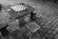 Chessboard a built into a cement table Stock Images