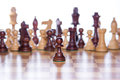 Chessboard with the focus on the pawn standing in the front Royalty Free Stock Photo