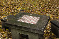 Chessboard in park old concrete autumn Royalty Free Stock Image