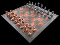 Chessboard with pieces of metal clipping path included Stock Images