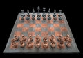 Chessboard with pieces of metal clipping path included Royalty Free Stock Image