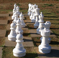 Chessmen on lawn chessboard chess pieces setup outside a chess board Stock Image