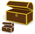 Chest d vector empty wooden chest with gold and silver metal frames and keyholes Royalty Free Stock Image