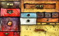 Chest of drawers abstract painting the various old in utter secrecy Stock Photography