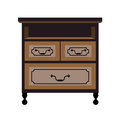 Chest of drawers retro furniture piece vector flat icon