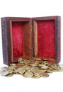 Chest with Gold Coins Royalty Free Stock Images