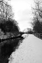 Chesterfield canal in the snow a black and white photo of derbyshire covered during wintertime Royalty Free Stock Photos