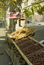 Chestnut stall at the market Stock Photos