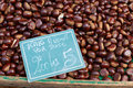Chestnuts for sale on provence market south france luberon region Stock Photo