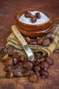 Chestnuts in salt just to eat Royalty Free Stock Photo
