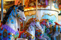Chevaux de carrousel colorés par sucrerie Photo libre de droits