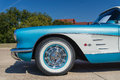 Chevrolet corvette convertible a turquoise classic car closeup of front side view Stock Images