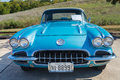 Chevrolet corvette convertible a turquoise classic car front view Royalty Free Stock Images