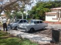 Chevrolet door sedan taxis in varadero cuba with drivers Royalty Free Stock Images