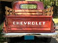 57 Chevrolet pick up truck rear view Royalty Free Stock Photo