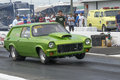 Chevrolet vega napierville dragway july picture of green wagon at the starting line during nhra national open event Stock Photo