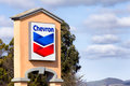 Chevron gas station sign salinas ca usa april chevon corporation is an american multinational enery corporation headquartered in Royalty Free Stock Photo