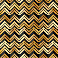 Chevron golden black stripe seamless pattern
