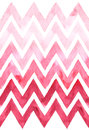 Chevron with gradation of pink color on white background. Watercolor seamless pattern