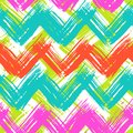 Chevron pattern hand painted with brushstrokes vector seamless bold in bright multiple colors can be used for print wallpaper fall Stock Photo