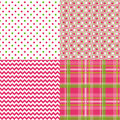 Chevron pattern plaid dots retro vector cute polka in spring colors pink and green and white Stock Photos