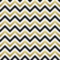 Chevron seamless pattern. Black, gold zigzag