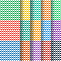 Chevron seamless pattern collection vector in flat color style Stock Photos