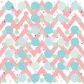 Chevron zig zag pink blue green seamless background pattern. Vector geometric polka dot stripes.