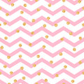 Chevron zigzag pink and white seamless pattern with golden shimmer polka dots vector geometric monochrome stripe with glitter Stock Images