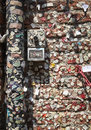 Chewing gum wall in verona italy – july colorful bubble gums with remnants of love notes stuck to the ancient brick and Royalty Free Stock Photos