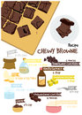 Chewy brownie fudge recipe vector art Royalty Free Stock Images