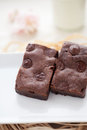 Chewy fudge homemade brownies chocolate chip Stock Images
