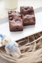Chewy fudgy homemade brownies chocolate chip Stock Photos