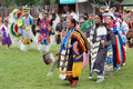 Cheyenne frontier days powwow native american dancers at the and indian village in wyoming Royalty Free Stock Images