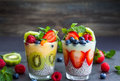 Chia and berry smoothies Royalty Free Stock Photo