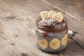Chia pudding with chocolate banana smoothie Royalty Free Stock Photo