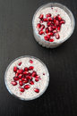 Chia pudding with pomegrante seeds Royalty Free Stock Photos