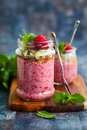 Chia and raspberry pudding seeds in jar for breakfast Royalty Free Stock Photos