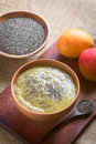 Chia seed and mango pudding healthy lat salvia hispanica in bowl on wood photographed with natural light selective focus focus in Stock Image