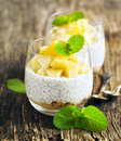 Chia seed pudding with caramelized apple and crushed grain cookies Royalty Free Stock Photo