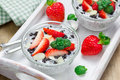Chia seed pudding with strawberries almond chocolate cookie crumbs and Stock Photography