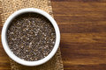 Chia seeds healthy x lat salvia hispanica x in small bowl photographed overhead with natural light x selective focus focus on the Royalty Free Stock Image