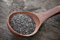 Chia seeds nutritious on a wooden spoon Royalty Free Stock Photos