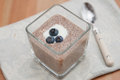 Chia seeds pudding with blueberries Royalty Free Stock Photo