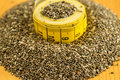 Chia seeds salvia hispanica for diet with a measure Stock Photography