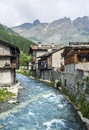 Chianale italian alps cuneo val varaita piedmont italy old typical mountain village in the at summer Royalty Free Stock Photo