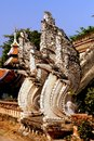 Chiang Mai,TH: Naga Dragons at Wat Chedi Luang Royalty Free Stock Photography