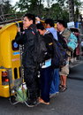 Chiang Mai, TH: Teens Riding on a Tuk-Tuk Bus Stock Images