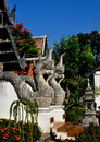 Chiang Mai, TH: Twin Naga Dragons at Temple Stock Photo