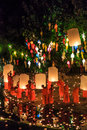Chiang mai thailand november loy krathong festival at wat pan tao in province of Stock Photo